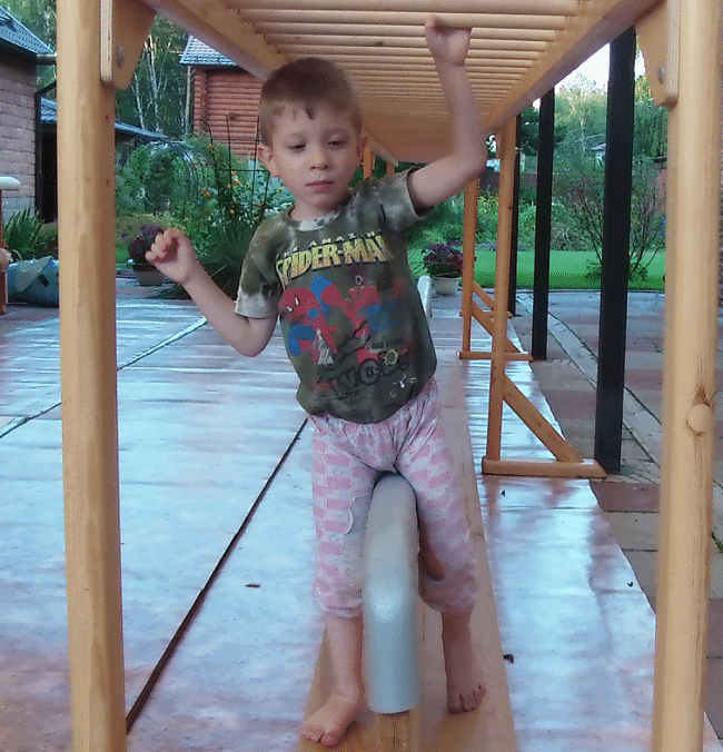 cerebral-palsy-causes-timofey-uses-overhead-ladder